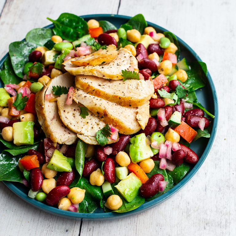 Three Bean Citrus Salad with Pan-Seared Chicken Breast